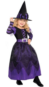 Purple Witch Costume includes:  Dress and hat