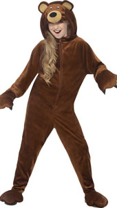 Brown Hooded All in One Bear Costume