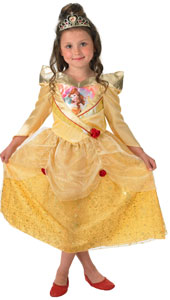 Disney Shimmer Belle Costume includes dress and tiara.