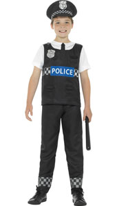 Child Cop Costume includes top, trousers and hat.
