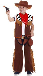 Cowboy Far West Child Costume includes vest, chaps, belt, hat, neckerchief, badge, 2 Holsters, 2 guns and canteen