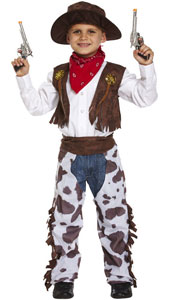 Dress Up Child Cowboy Costume includes  chaps, hat, waistcoat and neckerchief.