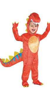 Baby Dinomite Dinosaur Costume includes jumpsuit, attached hood, attached tail and gloves