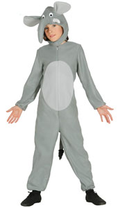 Child Elephant Costume includes jumpsuit with tail and hood.