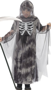 Ghostly Ghoul Costume includes a hooded robe with a glow in the dark chest detail.