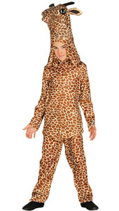 Child Giraffe Costume includes headpiece, t-shirt and trousers.
