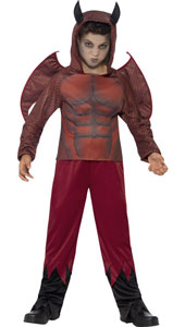Deluxe Devil Child Halloween Costume includes top with horned hood, trousers and wings.