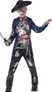 Deluxe Jolly Rotten Pirate Costume includes trousers, top with sublimation print and hat.