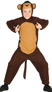 Child Monkey Costume includes jumpsuit with hood.
