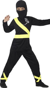 Ninja Assassin Costume, Black & Yellow, with Hood, Mask, Top & Trousers