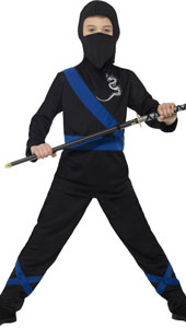 Ninja Assassin Costume, Black & Blue, with Hood, Mask, Top & Trousers