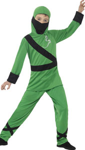Ninja Assassin Costume, Green and Black, with Hood, Mask, Top & Trousers