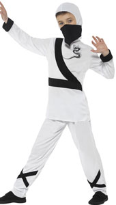 Ninja Assassin Costume, White and Black, with Hood, Mask, Top & Trousers