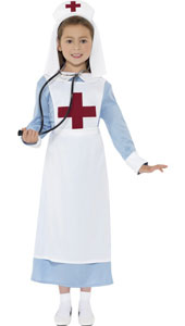 WW1 Nurse Costume includes dress, mock apron and headpiece.
