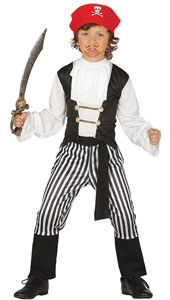 Child Buccaneer Pirate Costume includes shirt, trousers, headband and belt.