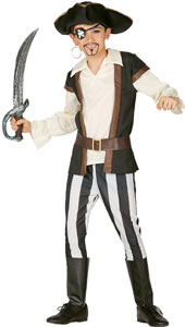 Bloodthirsty Pirate Costume includes hat, shirt with waistcoat, belt, trousers and overboots.