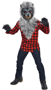 Hungry Howler Werewolf Costume includes:  Mask Shirt Attached fur Gloves