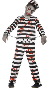Child Zombie Convict Costume, includes top, trousers, hat and wrist cuffs.