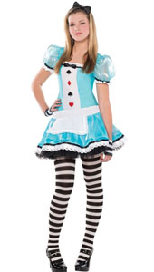 Alice Costume features a blue dress with fun details such as playing card suits printed on the bodice, an attached apron, ruffle trim and black bow accent at the neckline.