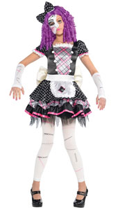 Girls Damaged Doll Costume includes:  Dress Attached apron Headband Mask Arm warmers Leggings