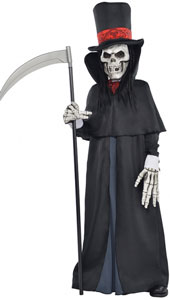 Dapper Death Costume includes:  Hat Attached hair Cape Mock collar Ascot Gloves
