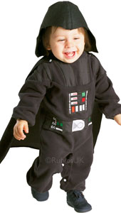 Darth Vader doesn't look quite so intimidating when he's shrunken down to toddler size in this cute romper suit and cape.