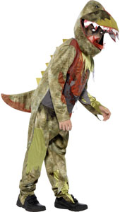 Deathly Dinosaur Costume includes jumpsuit and headpiece.