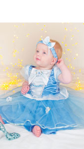 Disney Princess Cinderella Dress.  A gorgeous blue dress trimmed with pretty bows and flowers. Includes headband and bloomers