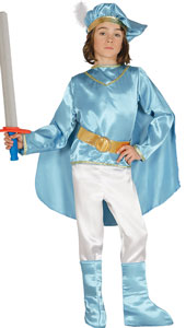 Fairytale Prince Costume includes hat, shirt with cape, belt, trousers and overboots.