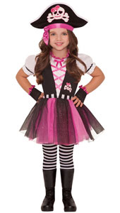 Dazzling Pink Pirate Costume includes dress, hat, glovelettes and leggings.