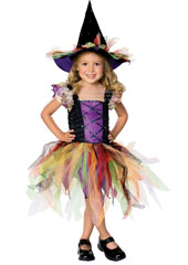 With lovely sequins that catch the light and a sheer multi coloured tutu that will make you feel like dancing, there a touch of carnival about this witch. Contains Dress & Hat