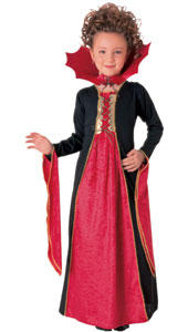 Gothic Vampiress Costume, Contains Velvet collar and velvet trimmed dress with drawstring.