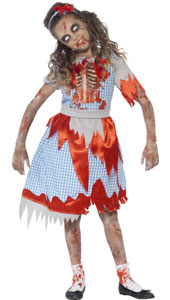 Zombie Country Girl Halloween Costume, includes blue check dress with printed chest detail and headband.