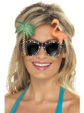 Hawaiian Specs.  Black with Flamingo & Palm Tree.