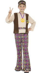 Child Hippie Boy Costume includes top with attached waistcoat, trousers, medallion and headband.
