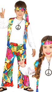 Child Hippie Costume includes shirt with waistcoat  trousers and headband