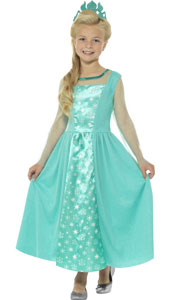 Ice Princess Girls Fancy Dress Costume includes dress and crown.