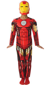 Deluxe Iron Man Costume includes printed suit with padded chest and PP mask.