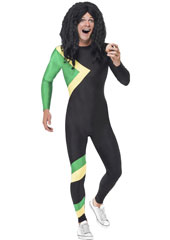 Jamaican Hero Costume includes black, yellow and green jumpsuit.