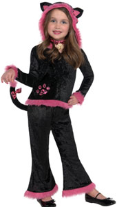 Kuddly Kitty Costume includes top with attached hood and pants with attached tail.