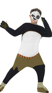Kung Fu Panda Kids Po Costume includes padded all-in-one jumpsuit and mask.