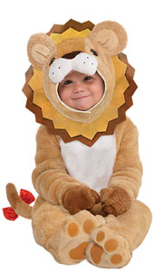 Baby Little Roar Lion Costume includes hood, jumpsuit with attached hand covers and attached tail