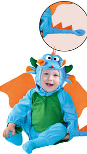 Little Dragon Costume includes jumpsuit with wings and tail  and hood.