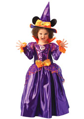 Minnie Mouse witch Costume. Contains Dress with bow and witches hat with ears.