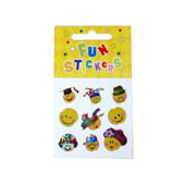 Mini Sheet of Smiley Face Stickers, available in an assortment of designs.  Each sticker sheet measures 6.5cm * 6.5cm (approx).  Full packaging size 10.5cm * 6.5cm.