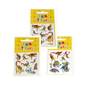 Mini Sheet of Dinosaur Stickers, available in an assortment of designs.  Each sticker sheet measures 6.5cm * 6.5cm (approx).  Full packaging size 10.5cm * 6.5cm.