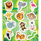 Jungle Stickers.  Each sticker sheet measures 10cm * 11.5cm (approx).  Each sheet contains between 12 stickers.