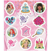 Princess Stickers.  Each sticker sheet measures 10cm * 11.5cm (approx).  Each sheet contains between 12 stickers.