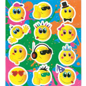 Smile Face Stickers.  Each sticker sheet measures 10cm * 11.5cm (approx).  Each sheet contains between 12 stickers.