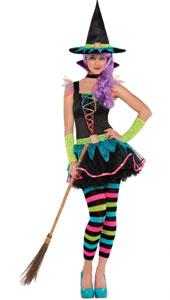 Neon Witch Costume includes:  Dress Hat Choker collar Arm warmers Tights